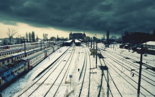 зима, снег, поезд, рельсы
