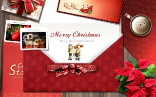 coffee, gift, postcard, flowers, New year, Merry Christmas, Christmas