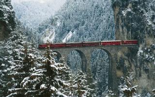 зима, сніг, поїзд, рейки