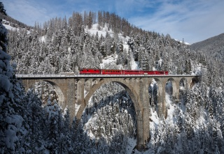 Швейцарія, альпи, зима, ліс, селище, міст, електровоз, склад, пасажирський, Червоний, поїзд