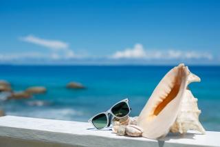 summer, vacation, beach, accessories, glasses, sun, shells, blue sky, sea