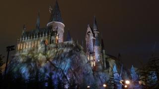 Hogwarts, castle, night, lights, lighting, rock, tower, beauty