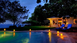 Jamaica, resort, the hotel, night, lighting, lights, pool, greens, trees, holiday beauty, the ocean, silence, the house, chairs