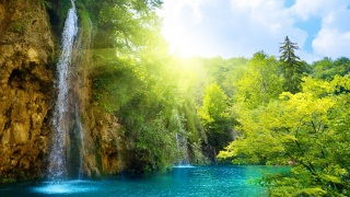 summer, waterfall, the lake, water, greens, trees, the sky, the sun, silence, nature, beauty