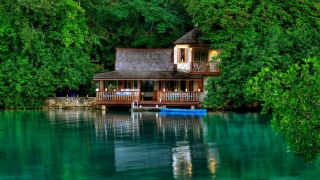 Jamaica, resort, the rest, summer, the lake, the house, boat, greens, trees, silence, beauty