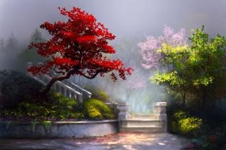 арт, картина, весна, цветы, деревья, цвет, Красный, желтый, розовый, ступени, природа, красиво, легкий, туман