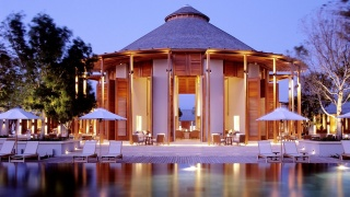 resort, the rest, the hotel, evening, lights, lighting, greens, trees, table, chair
