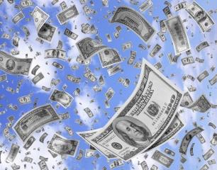 долари, небо, кількість, гроші, США