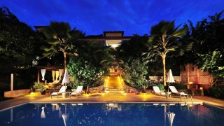 The hotel, resort, night, pool, trees, lighting, lights, the building, reflection, beauty