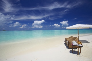 The Maldives, island, resort, the ocean, the beach, the rest, the sky, clouds, afternoon tea