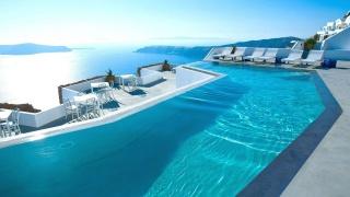pool, terrace, water, coast, the ocean, the sky, the sun, beauty