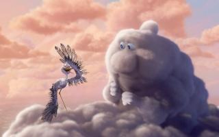 мультфильм, аист, облако, взгляд, небо