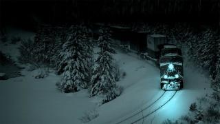 локомотив, ночь, снег