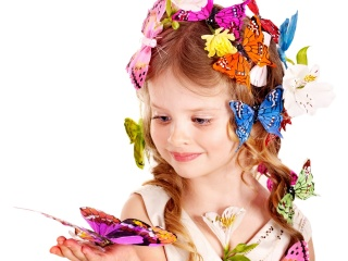 girl, butterfly, photo, flowers, view, white, background