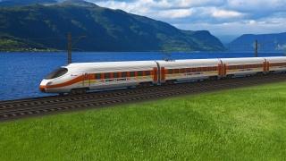 поезд, локомотив, скорость, вагоны, состав, гору, море, толком, красота