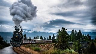 паровоз, локомотив, вагоны, дым, скорость, дорога, мост, деревья, зелень, небо, облака