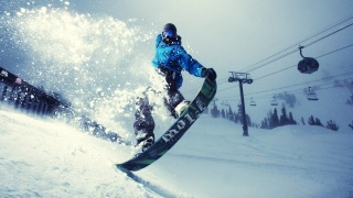winter, sports, snowboard