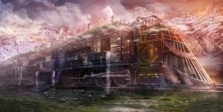 паровоз, город, природа, горы, локомотив, вода, Картинка, небо, облака