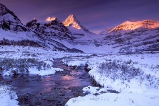 горы, зима, река, закат, снег