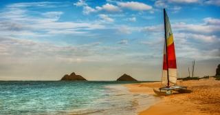 природа, пляж, лодка, облака, море, небо, небо, природа, лодка, облака, море
