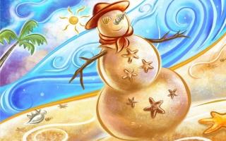 сніговик, ресунок, список, сонечко, радість