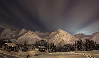 природа, зима, промені, ніч, небо, гори, зірки