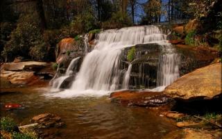 природа, водопады, камни, река, лес