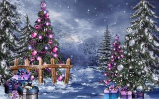 Рождество, свет, город, зима, деревня, снег