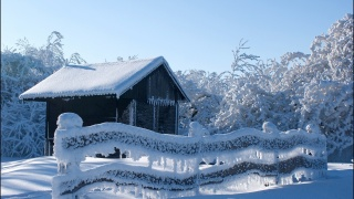 winter, nature, the house, frost, snow, beautiful