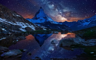 mountain, night, stars, lake, blue, sky