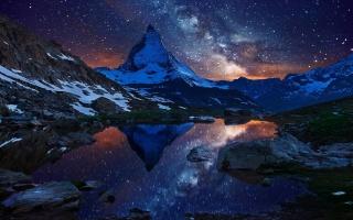 hory, noc, hvězdy, jezero, modrá, sky