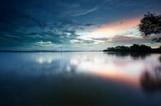 озеро, небо, захід, краса