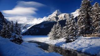 river, snow, ate, winter