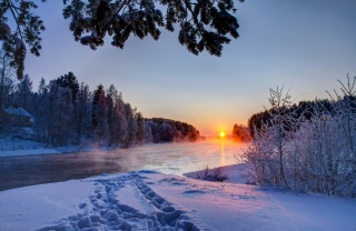 winter, river, nature, beautiful, the sun, snow, the house, morning, frost