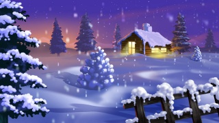 зима, дерева, сніг, шлях, гора, місяць, кабіна
