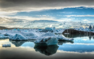 the sky, clouds, mountains, sea, ice, floe, iceberg