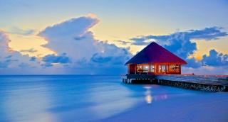 океан, домик, небо, облака, побережье, курорт, красота