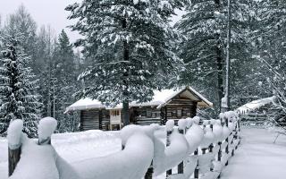 зима, деревья, снег, путь, гора, луна, кабина