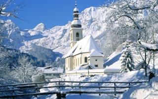 Новий рік, сніг, зима, церква, міст