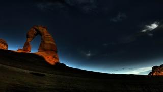 noc, skála, nebe, západ slunce