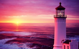 wave, sunset, sky, the sky, lighthouse, sea, sunset