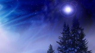 Новий рік, зима, ніч, ялинка, зірки