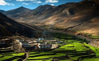 mountains, tibet, China, Tibet, houses, the village, himalayas, The Himalayas