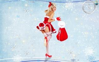 снегурочка, taška, dárky, rukavice, novoroční, pozadí