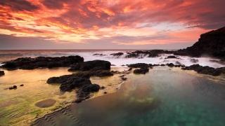 Cape, the sky, sea, rock, clouds, the ocean, stones, sunset