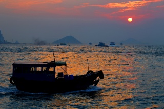 the boat, sea, sunset, evening
