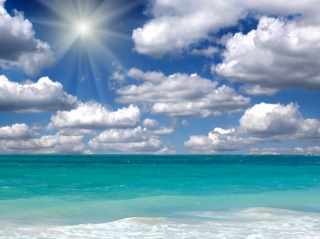 coast, sea, the sun, the sky, clouds