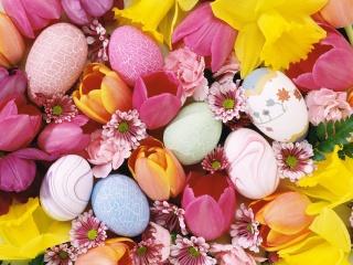 ЯЙЦА, цветы, пасха, ярко