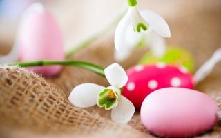 květiny, sněženky, крашенки, velikonoční vejce, velikonoce
