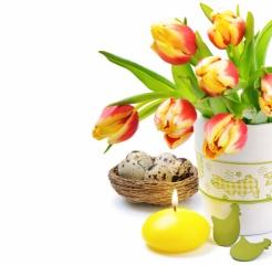 VEJCE, květiny, svíčky, tulipány, Velikonoce, velikonoce